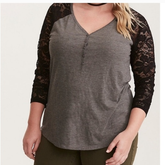 Awesome Torrid lace sleeved henley
